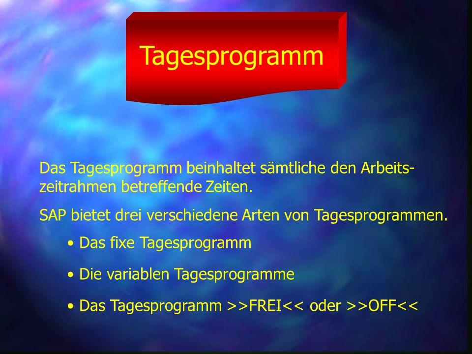 Tagesprogramm Das Tagesprogramm beinhaltet sämtliche den Arbeits-