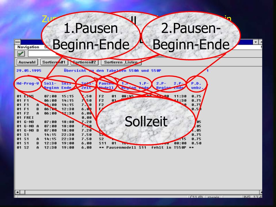 Schichtplan Soll Beginn - Ende 2.Pausen- Beginn-Ende 1.Pausen