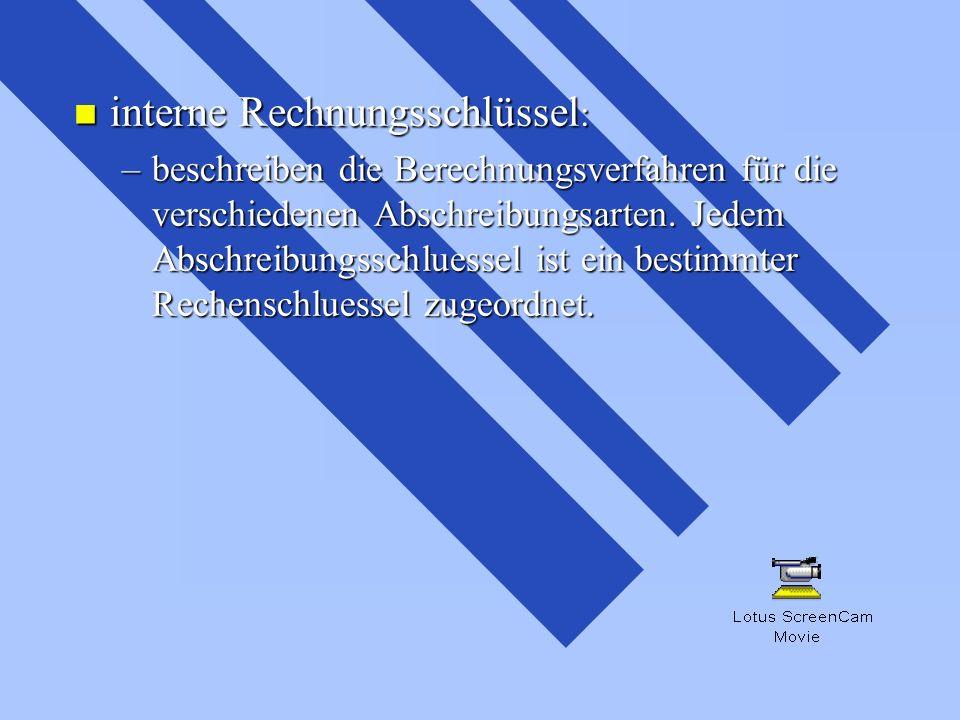 interne Rechnungsschlüssel: