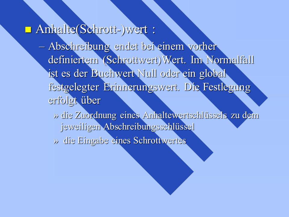 Anhalte(Schrott-)wert :