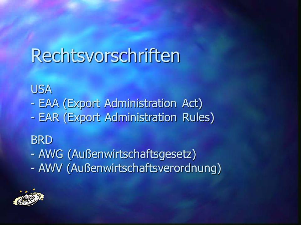 Rechtsvorschriften USA - EAA (Export Administration Act)