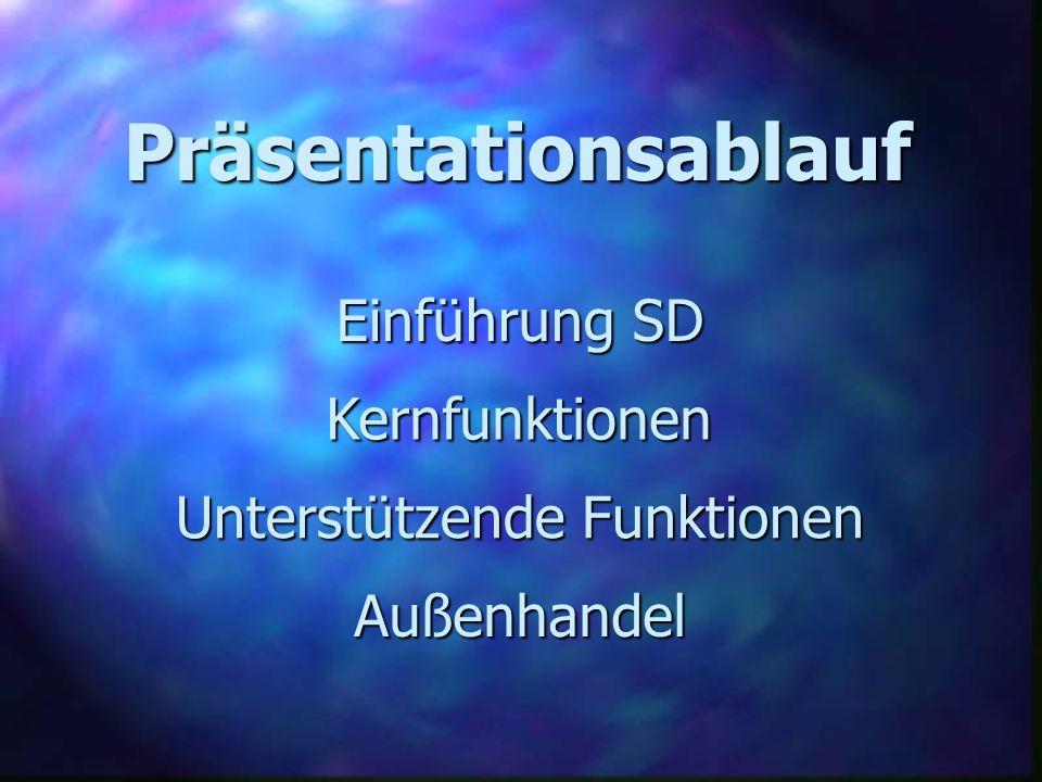 Präsentationsablauf Einführung SD Kernfunktionen