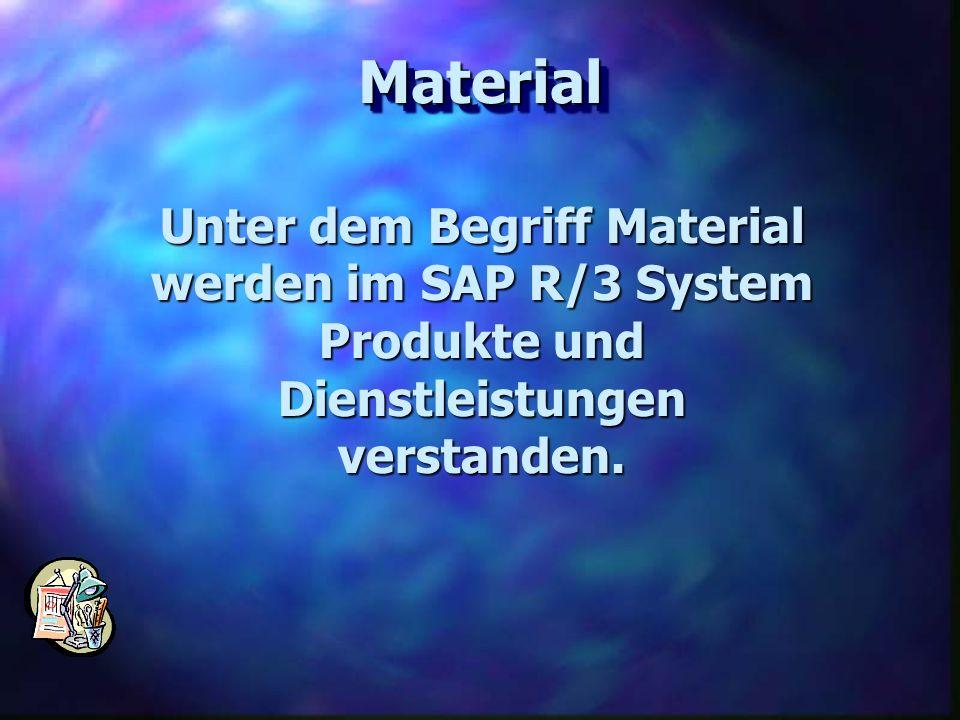 Material Unter dem Begriff Material werden im SAP R/3 System Produkte und Dienstleistungen verstanden.