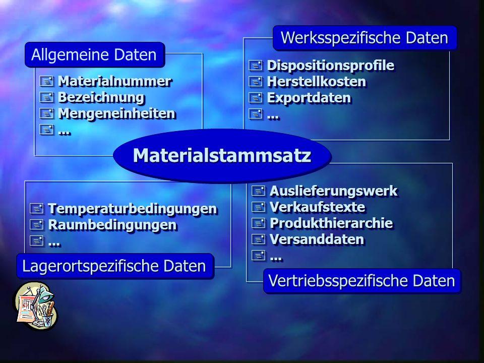 Materialstammsatz Werksspezifische Daten Allgemeine Daten