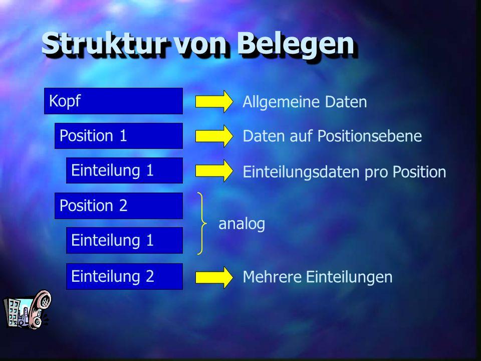 Struktur von Belegen Kopf Allgemeine Daten Position 1