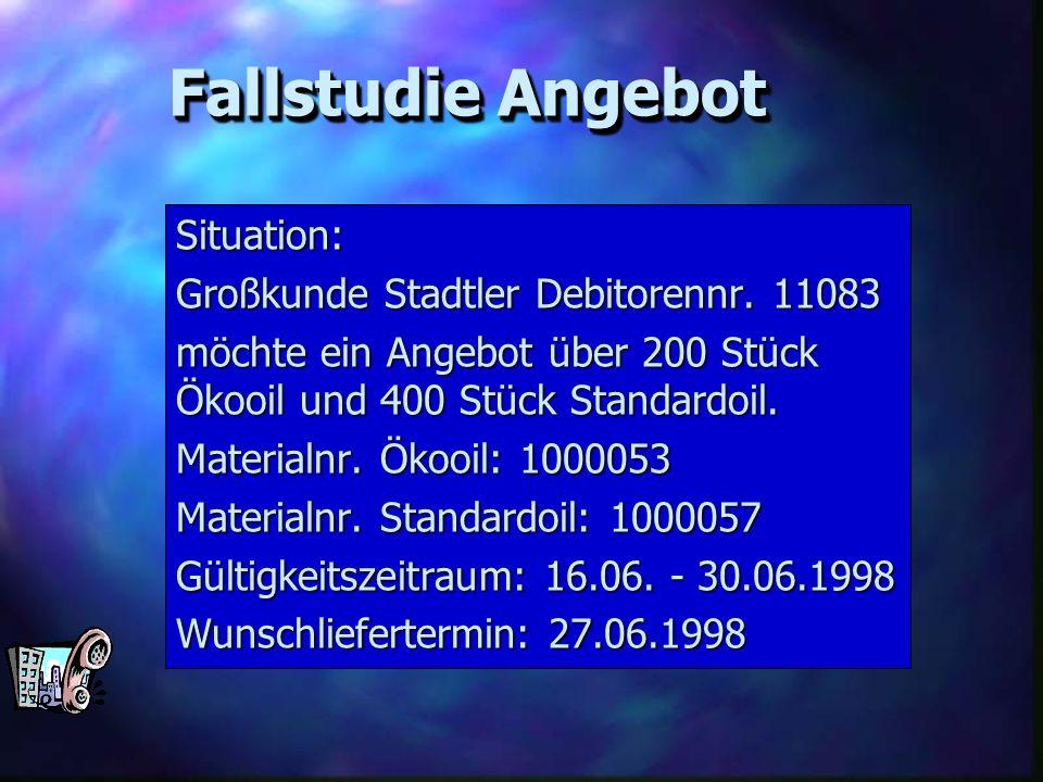 Fallstudie Angebot Situation: Großkunde Stadtler Debitorennr. 11083
