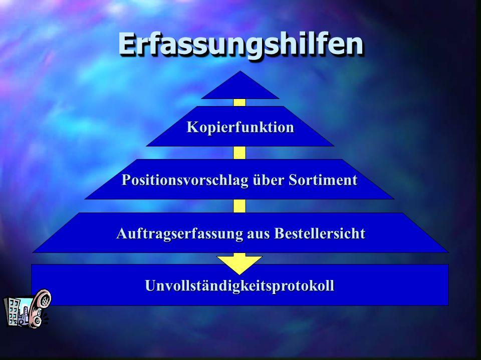 Erfassungshilfen Kopierfunktion Positionsvorschlag über Sortiment