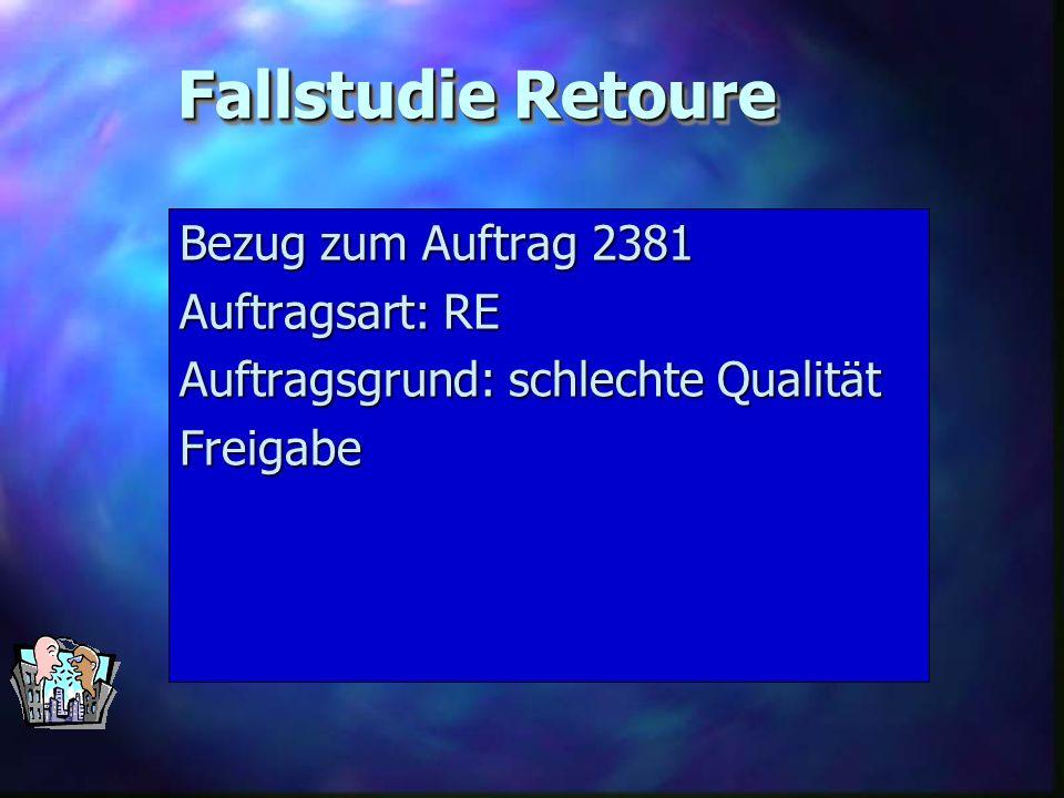 Fallstudie Retoure Bezug zum Auftrag 2381 Auftragsart: RE