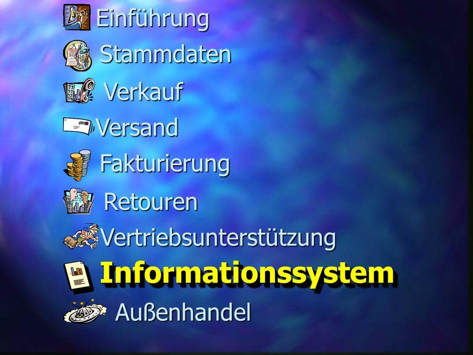 Informationssystem Einführung Stammdaten Verkauf Versand Fakturierung