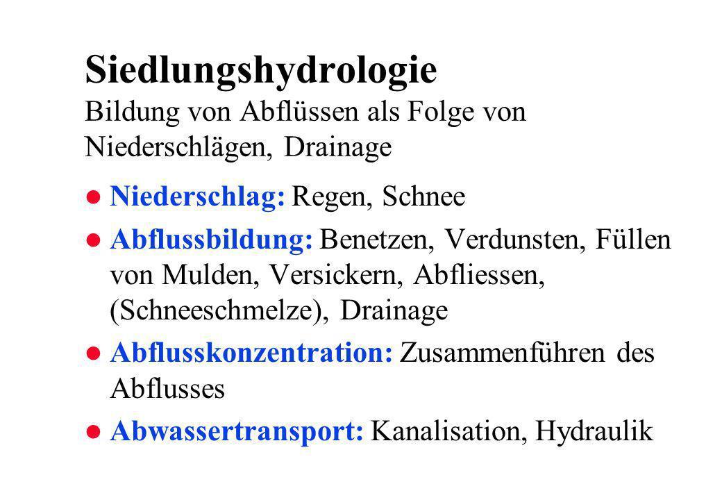 Siedlungshydrologie Bildung von Abflüssen als Folge von Niederschlägen, Drainage
