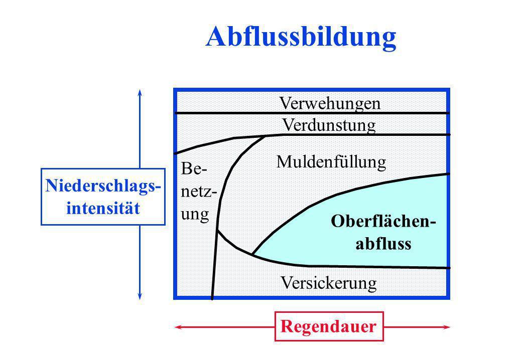 Abflussbildung Verwehungen Verdunstung Muldenfüllung Niederschlags-