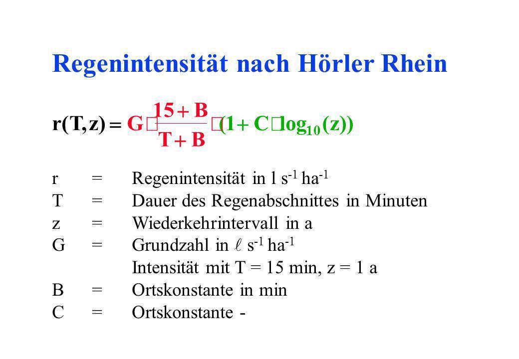 Regenintensität nach Hörler Rhein