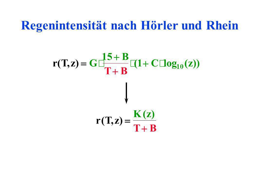 Regenintensität nach Hörler und Rhein