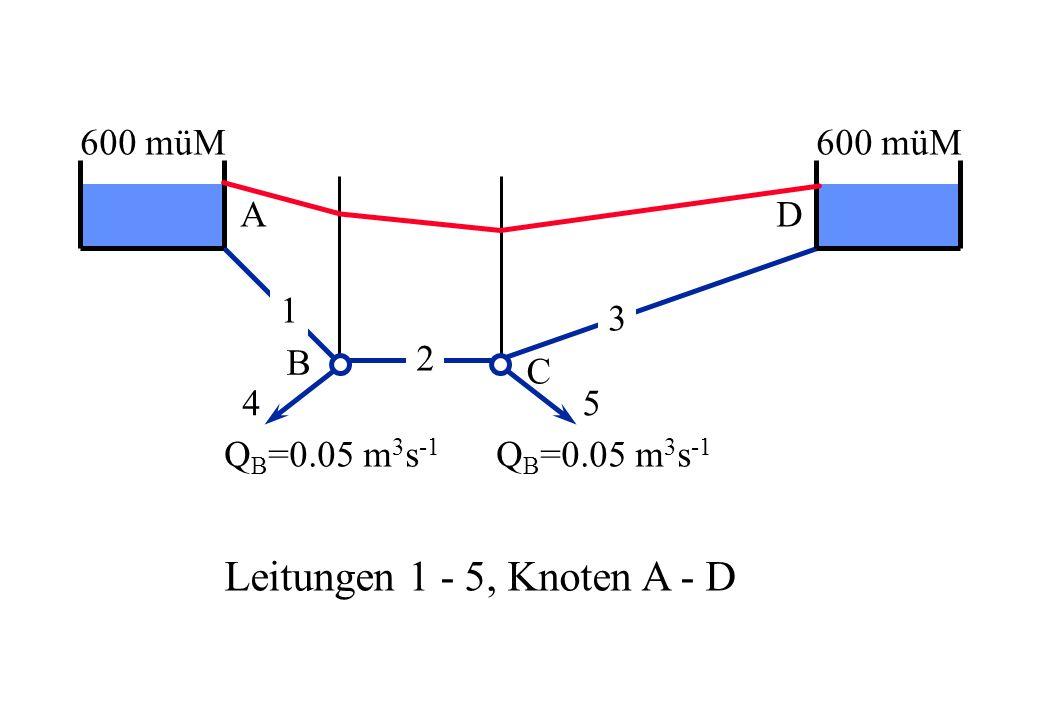 Leitungen 1 - 5, Knoten A - D 600 müM 600 müM A D 1 3 B 2 C 4 5