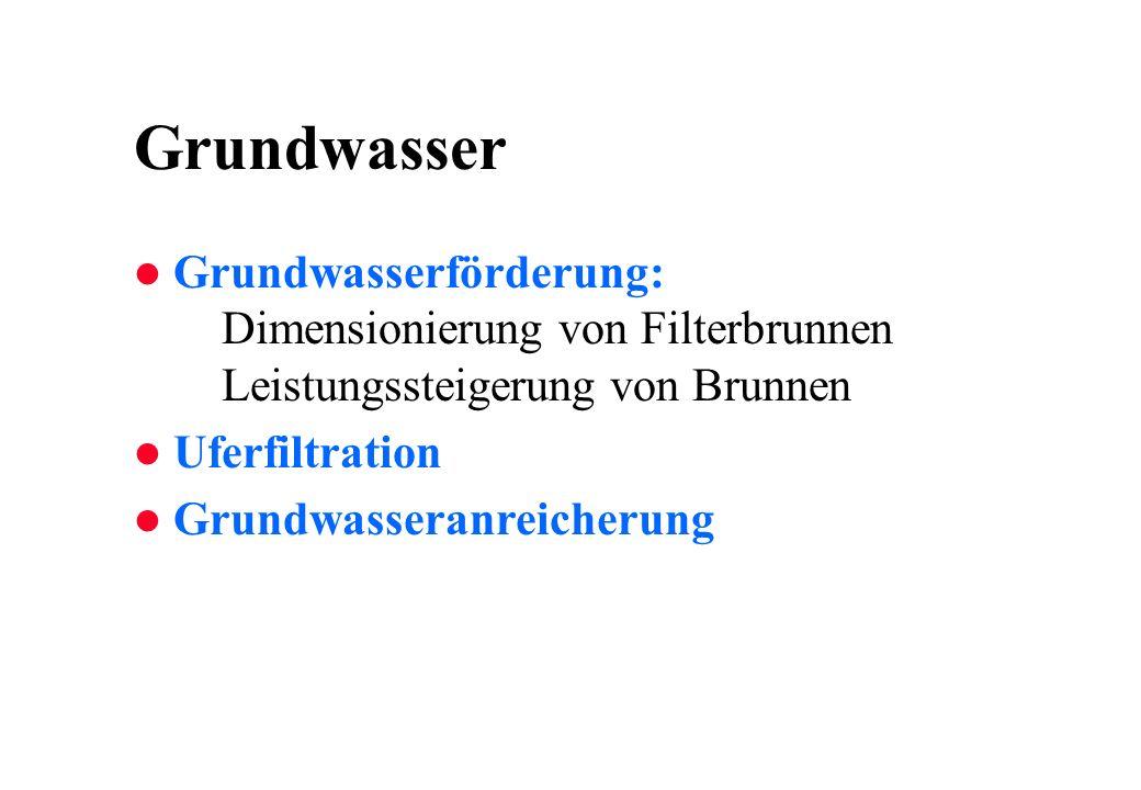 Grundwasser Grundwasserförderung: Dimensionierung von Filterbrunnen Leistungssteigerung von Brunnen.