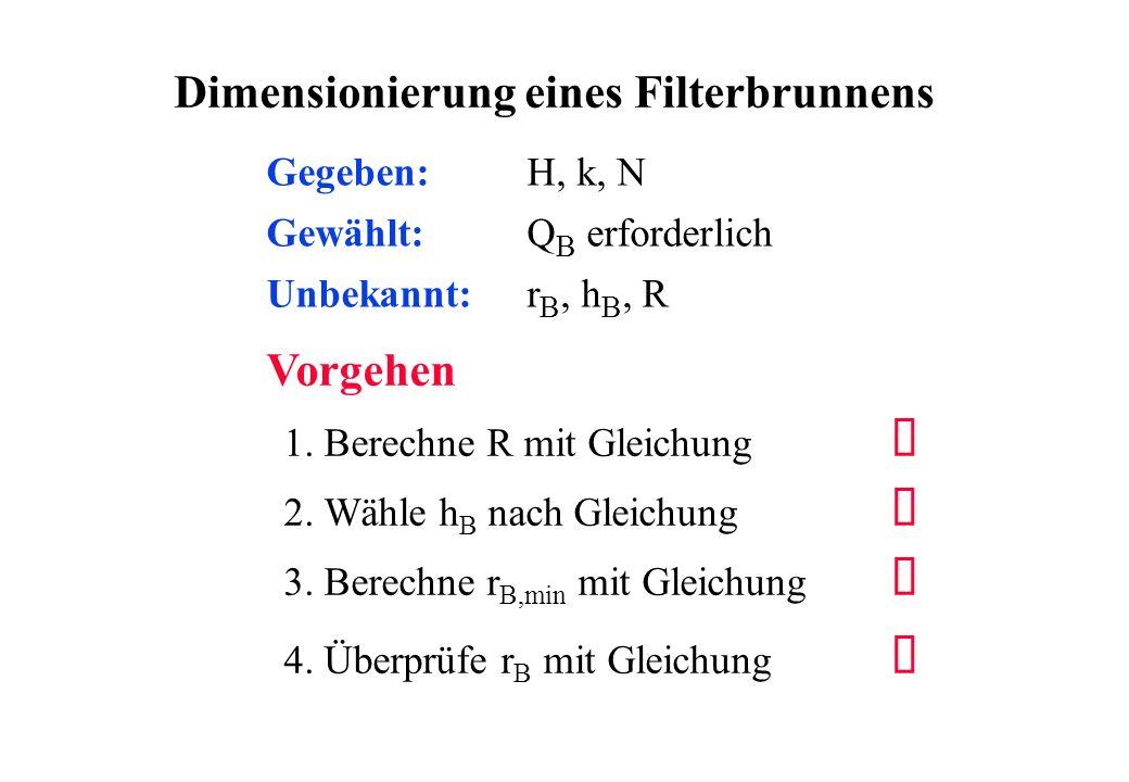 Dimensionierung eines Filterbrunnens