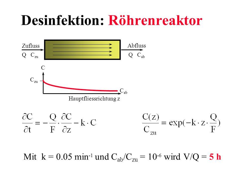 Desinfektion: Röhrenreaktor