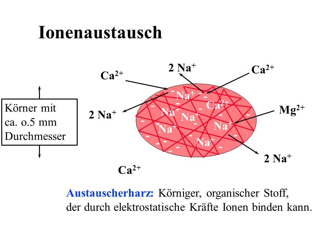 Ionenaustausch 2 Na+ Ca2+ Ca2+ - - Körner mit ca. o.5 mm Durchmesser