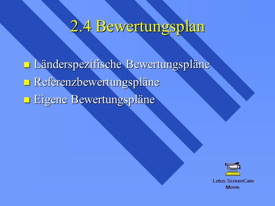 2.4 Bewertungsplan Länderspezifische Bewertungspläne