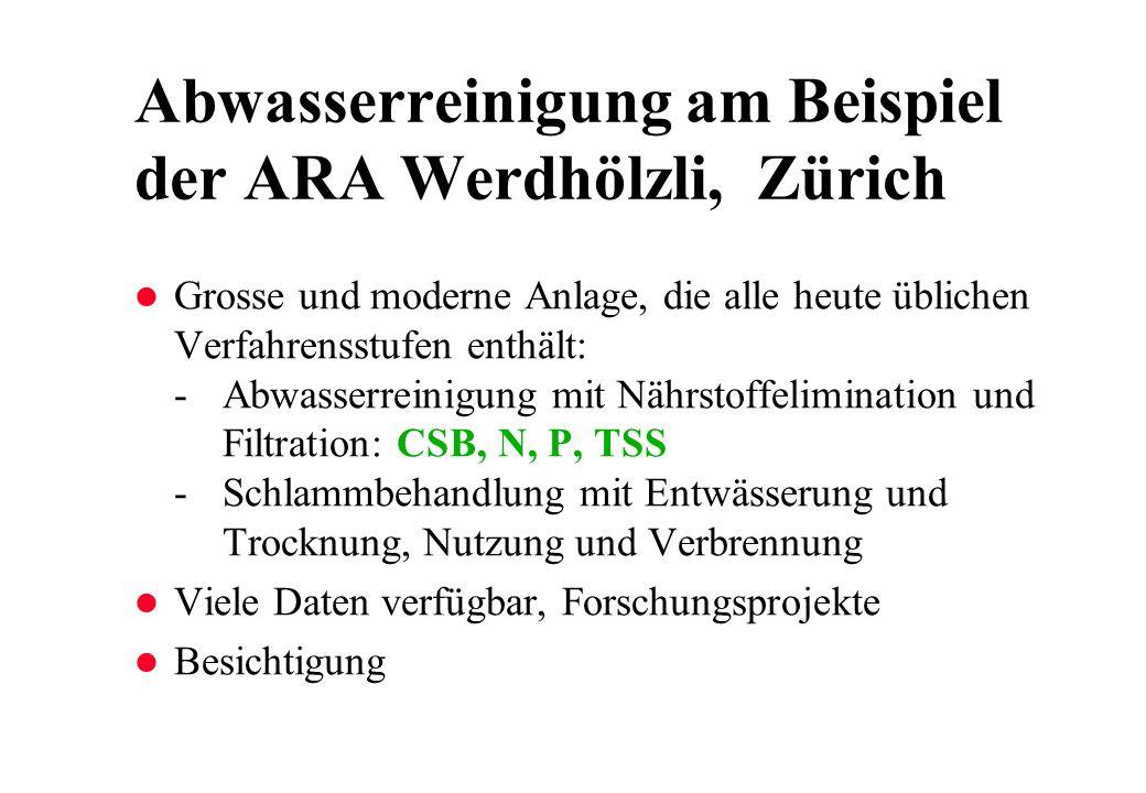 Abwasserreinigung am Beispiel der ARA Werdhölzli, Zürich