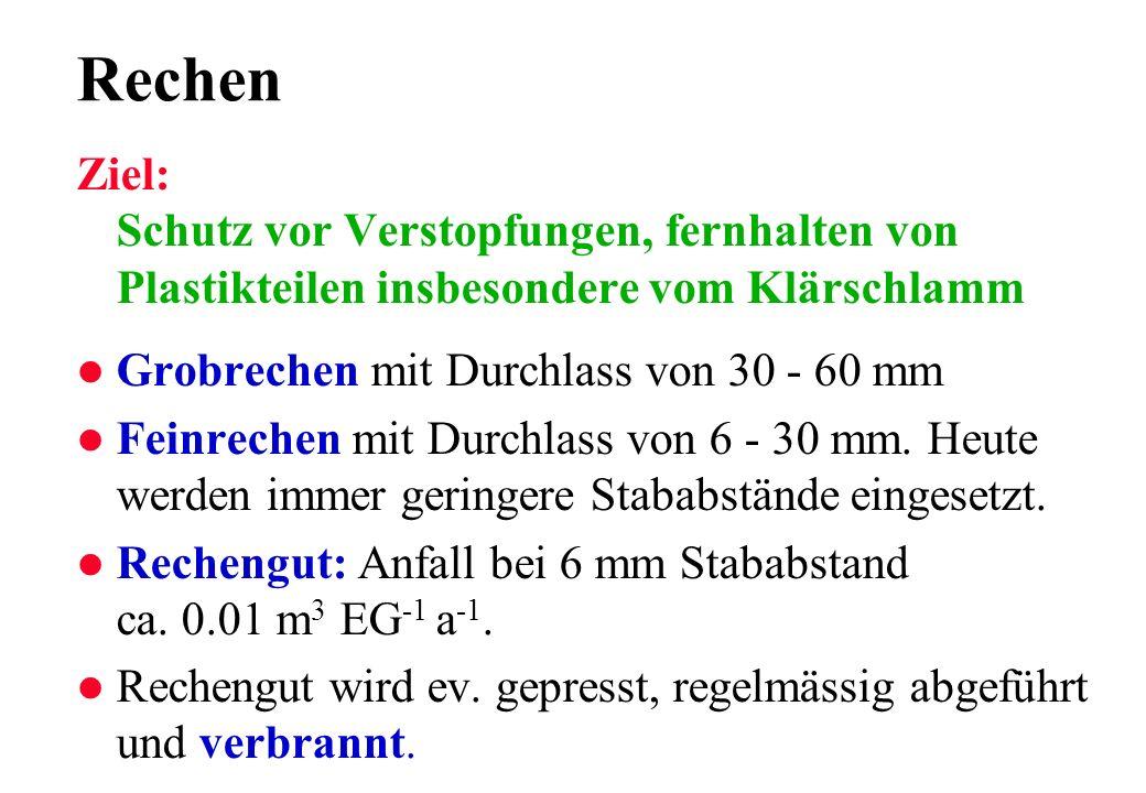 RechenZiel: Schutz vor Verstopfungen, fernhalten von Plastikteilen insbesondere vom Klärschlamm. Grobrechen mit Durchlass von 30 - 60 mm.
