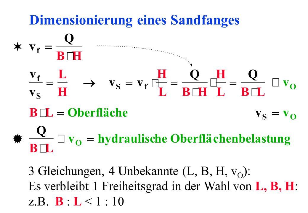 Dimensionierung eines Sandfanges