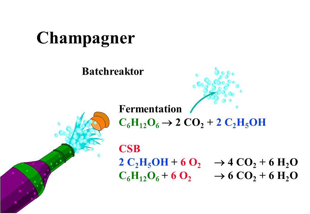 Champagner Batchreaktor Fermentation C6H12O6 ® 2 CO2 + 2 C2H5OH CSB
