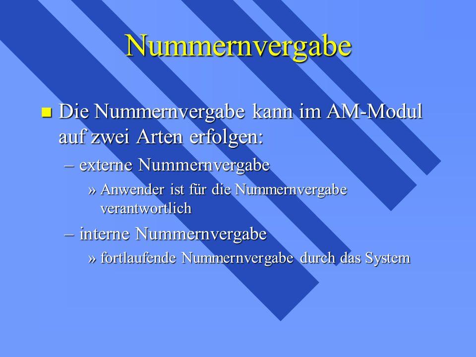 Nummernvergabe Die Nummernvergabe kann im AM-Modul auf zwei Arten erfolgen: externe Nummernvergabe.