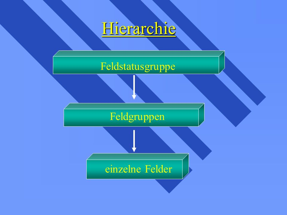 Hierarchie Feldstatusgruppe Feldgruppen einzelne Felder