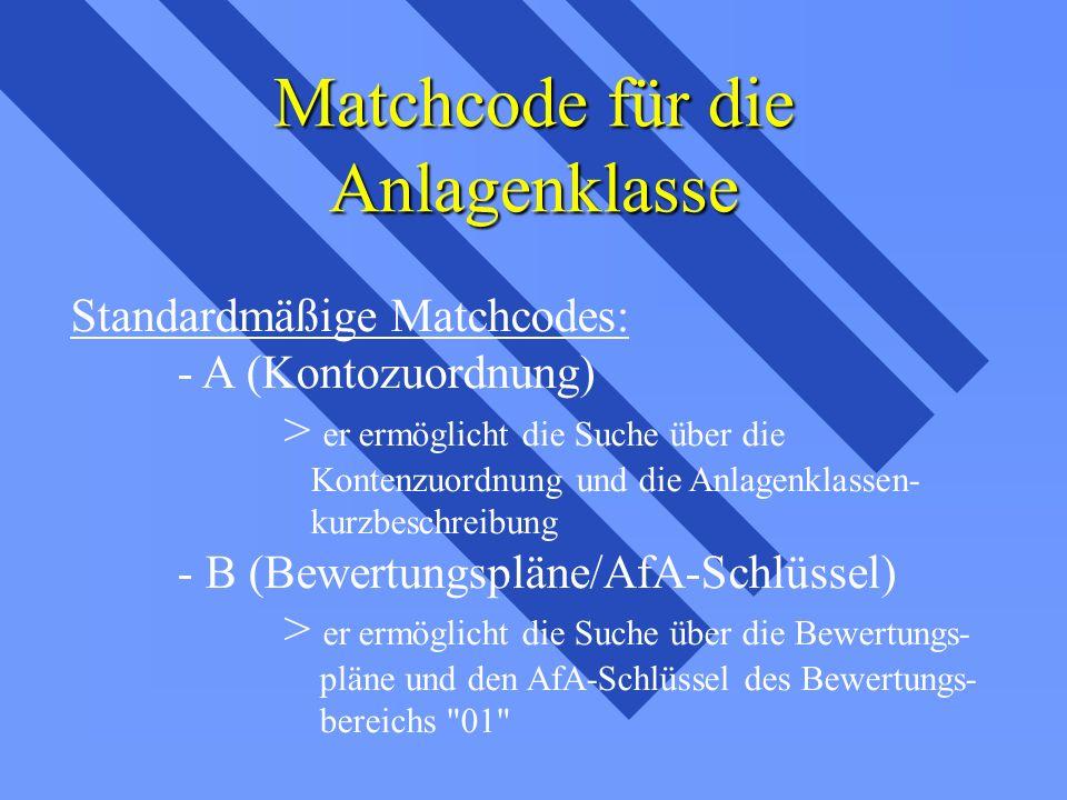 Matchcode für die Anlagenklasse