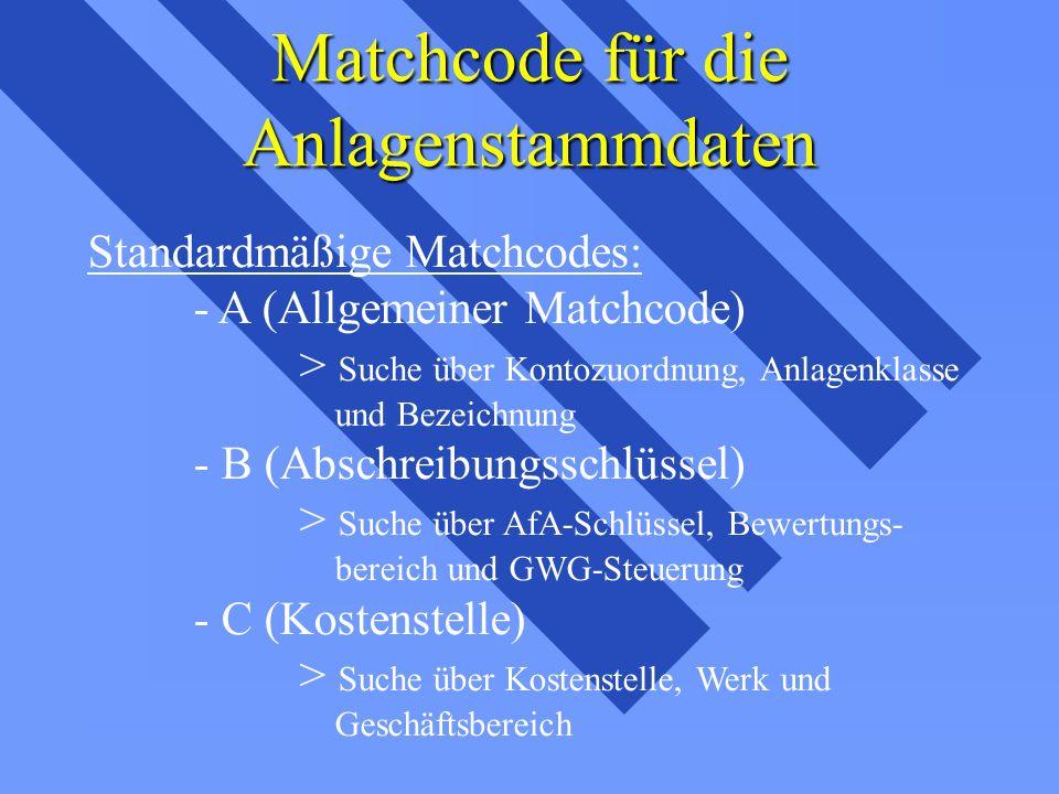 Matchcode für die Anlagenstammdaten