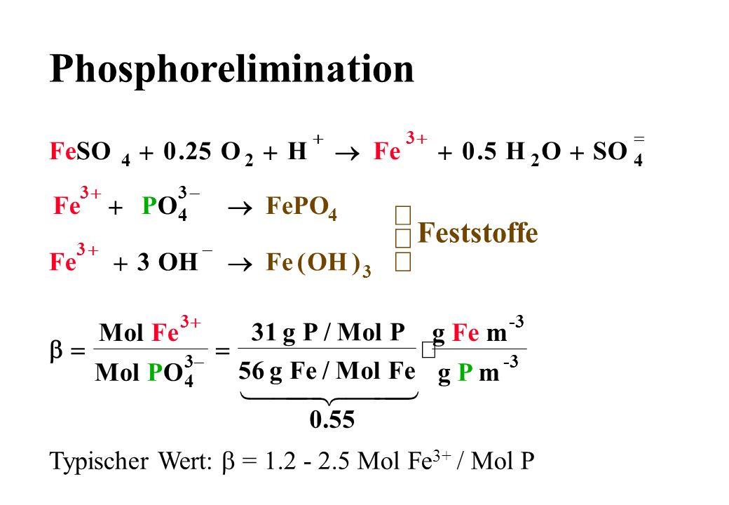 Phosphorelimination 1 2 ü Feststoffe ý þ FeSO O H Fe SO 25 5 + ® . PO