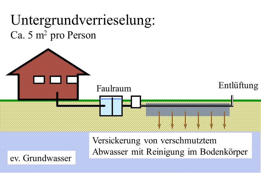 Untergrundverrieselung: Ca. 5 m2 pro Person