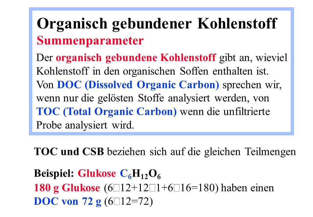 Organisch gebundener Kohlenstoff Summenparameter