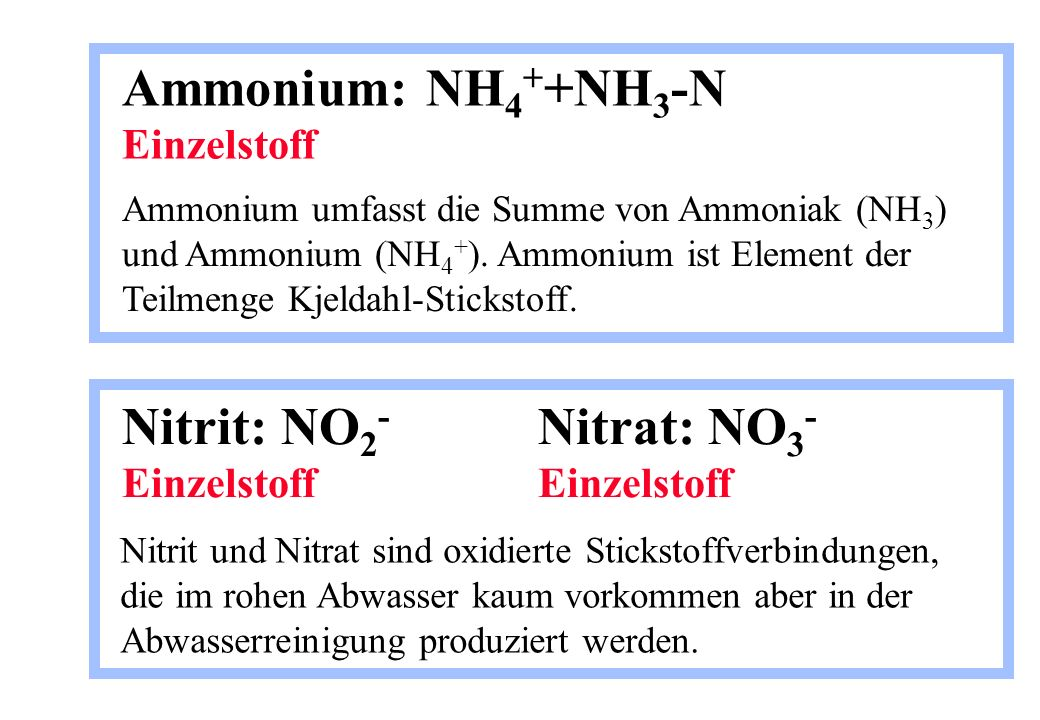 Ammonium: NH4++NH3-N Einzelstoff