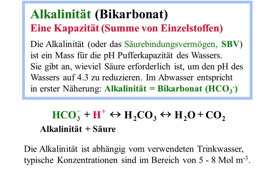 Alkalinität (Bikarbonat) Eine Kapazität (Summe von Einzelstoffen)