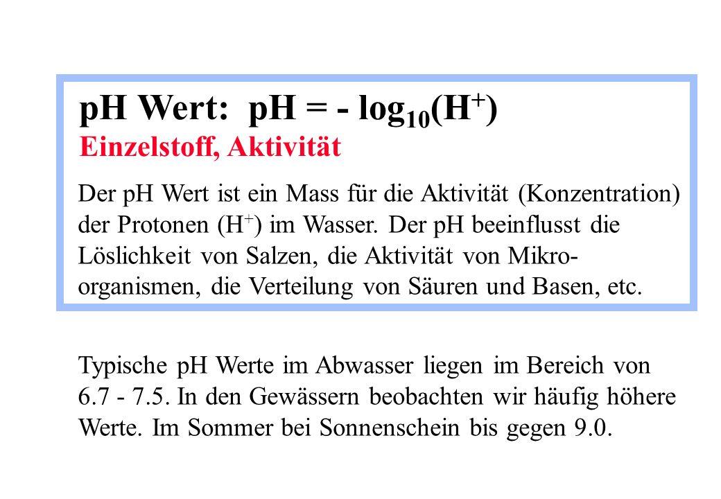 pH Wert: pH = - log10(H+) Einzelstoff, Aktivität