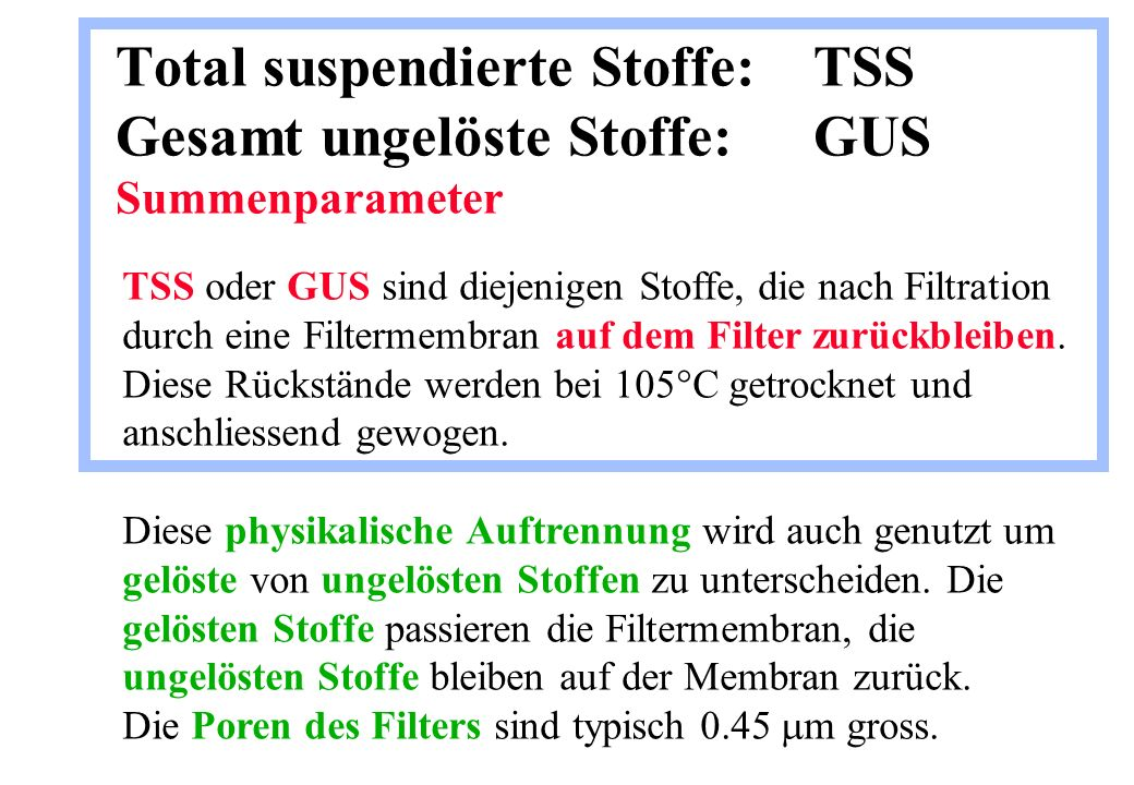 Total suspendierte Stoffe:. TSS Gesamt ungelöste Stoffe: