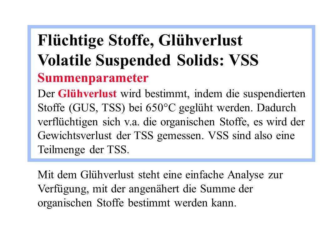 Flüchtige Stoffe, Glühverlust Volatile Suspended Solids: VSS Summenparameter