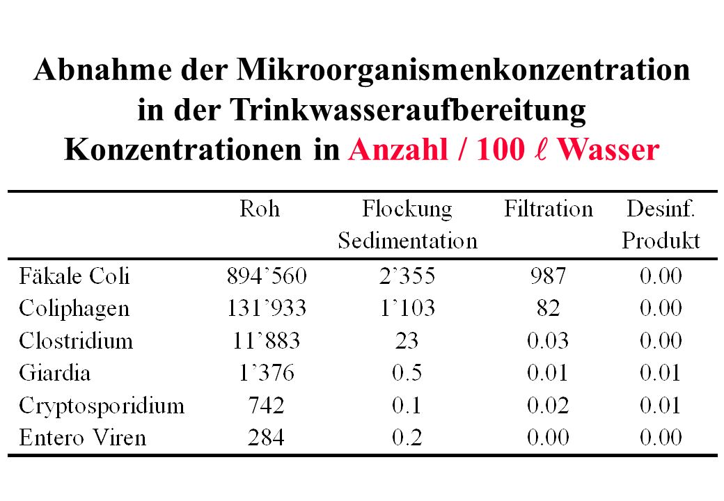 Abnahme der Mikroorganismenkonzentration