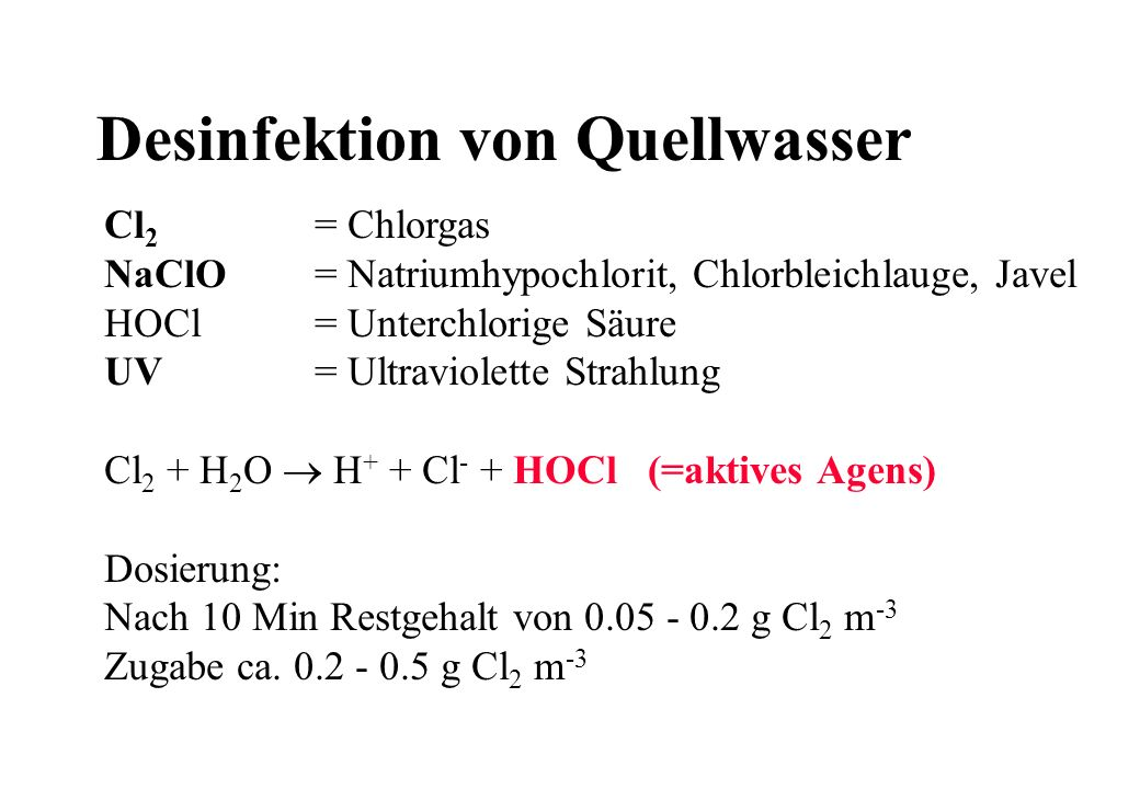 Desinfektion von Quellwasser