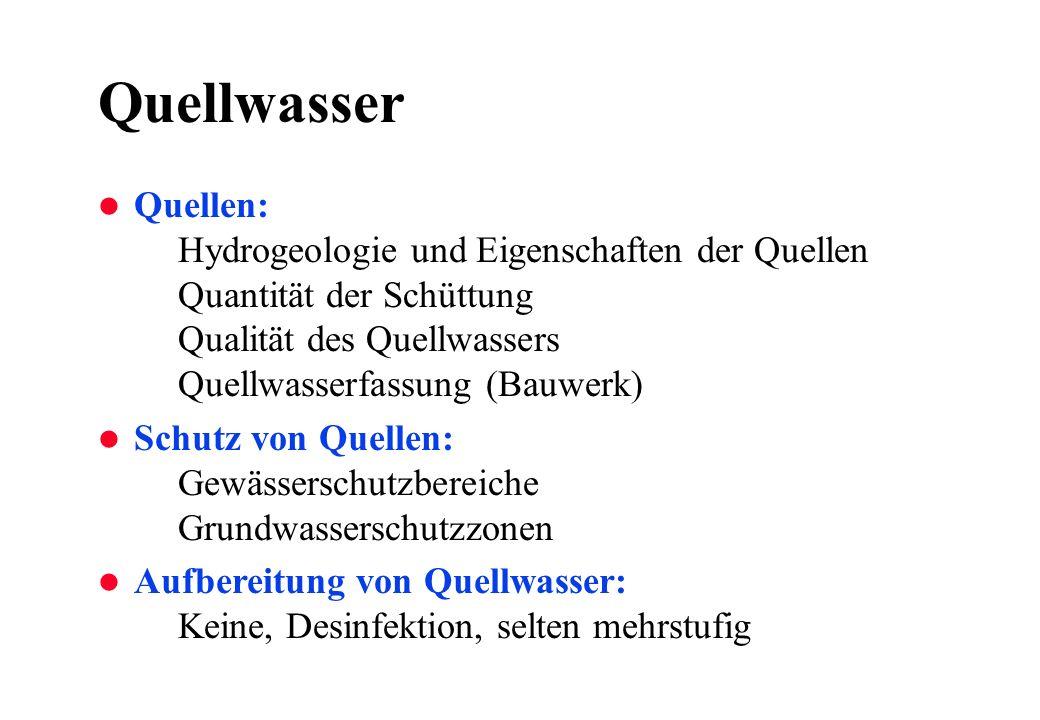 Quellwasser Quellen: Hydrogeologie und Eigenschaften der Quellen Quantität der Schüttung Qualität des Quellwassers Quellwasserfassung (Bauwerk)