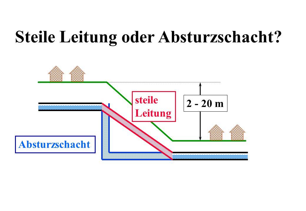 Steile Leitung oder Absturzschacht