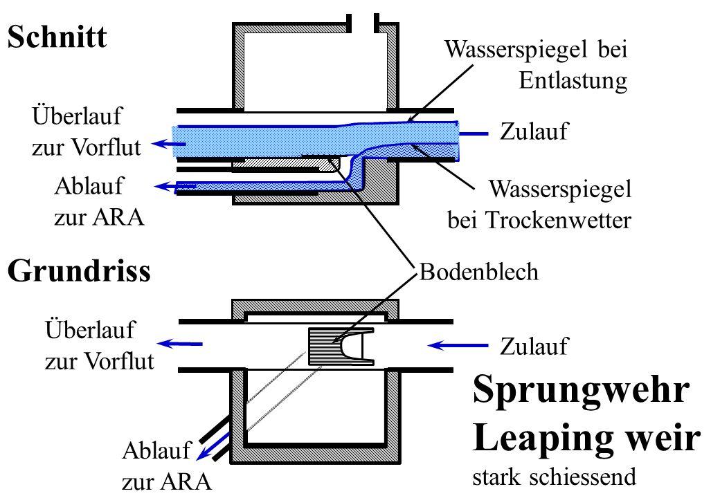 Sprungwehr Leaping weir Schnitt Grundriss Wasserspiegel bei Entlastung