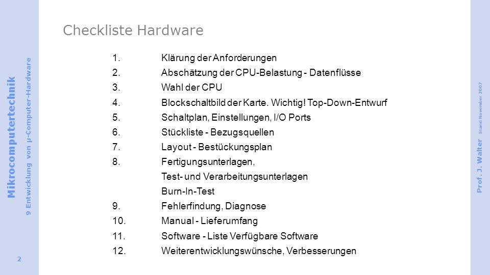Checkliste Hardware 1. Klärung der Anforderungen
