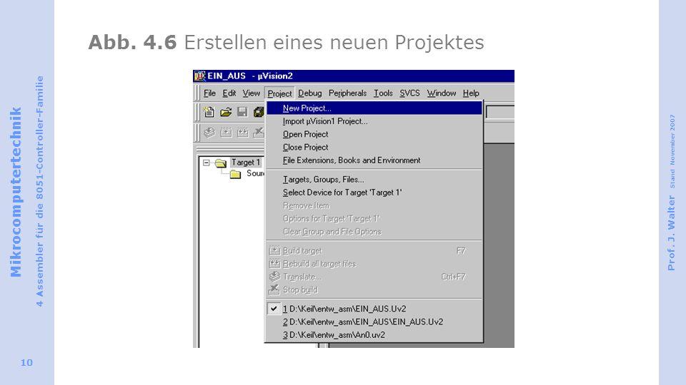 Abb. 4.6 Erstellen eines neuen Projektes