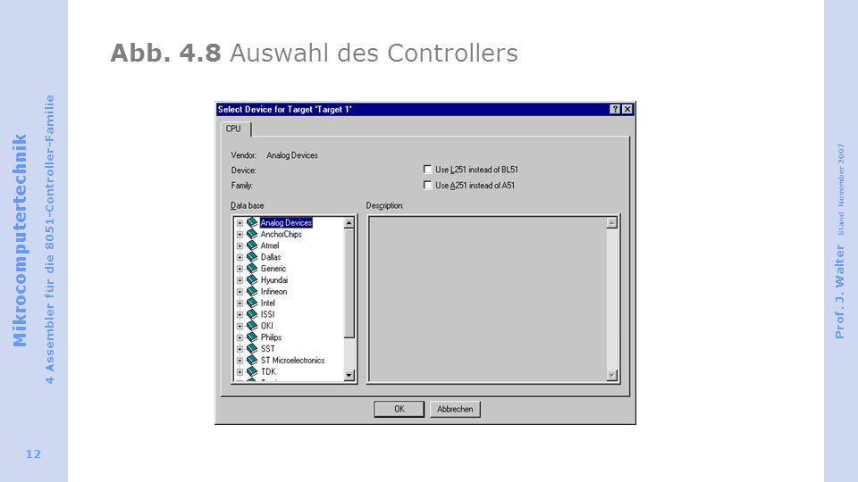 Abb. 4.8 Auswahl des Controllers