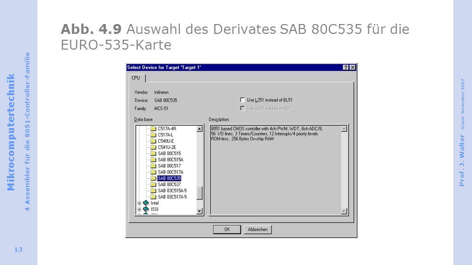 Abb. 4.9 Auswahl des Derivates SAB 80C535 für die EURO-535-Karte