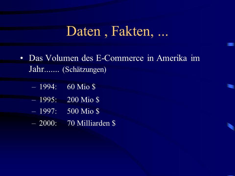 Daten , Fakten, ...Das Volumen des E-Commerce in Amerika im Jahr....... (Schätzungen) 1994: 60 Mio $