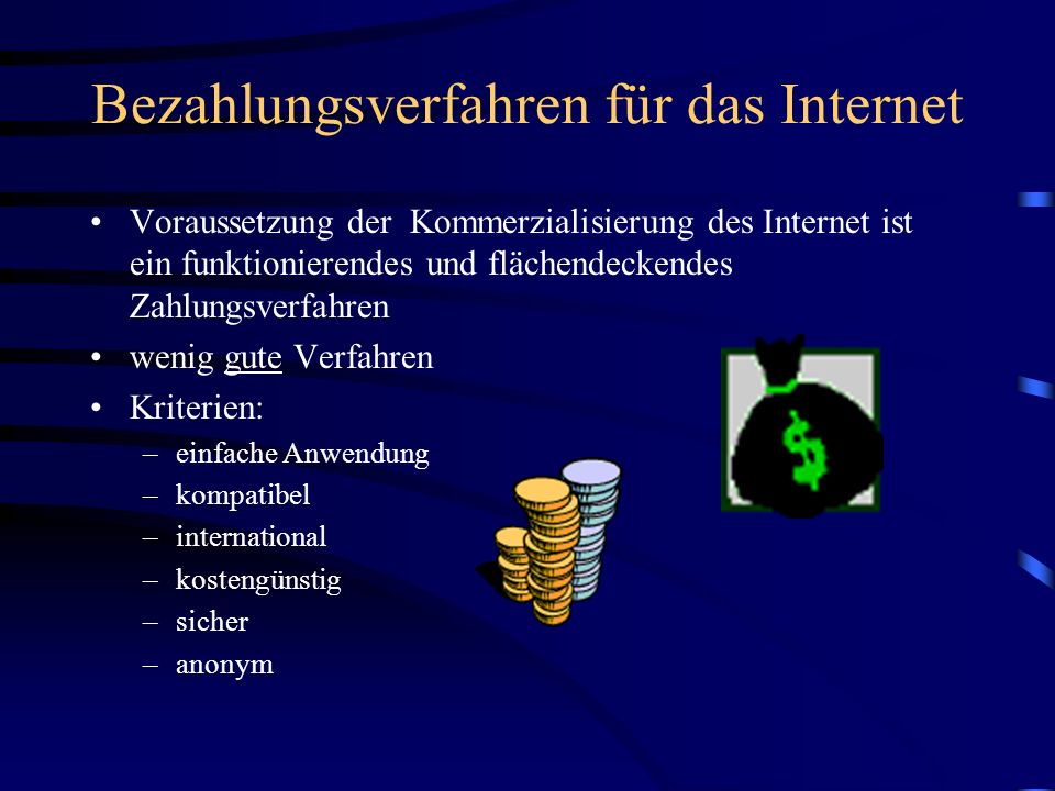 Bezahlungsverfahren für das Internet